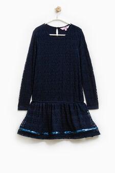 Vestitino traforato con paillettes, Blu chiaro, hi-res
