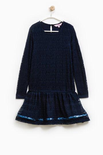 Openwork dress with sequins, Soft Blue, hi-res