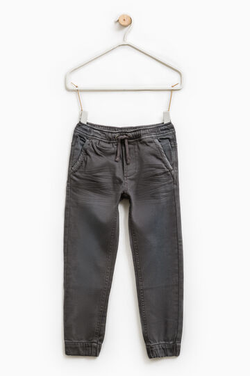 Jeans with elasticated waist and ankles., Slate Grey, hi-res