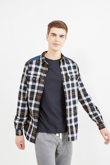 Slim-fit check shirt with denim patches, Blue/Brown, hi-res