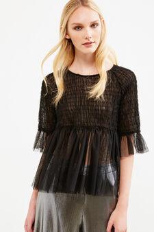 Semi-sheer blouse with flounces, Black, hi-res