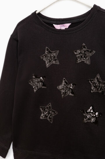 Sequinned sweatshirt in 100% cotton, Black, hi-res