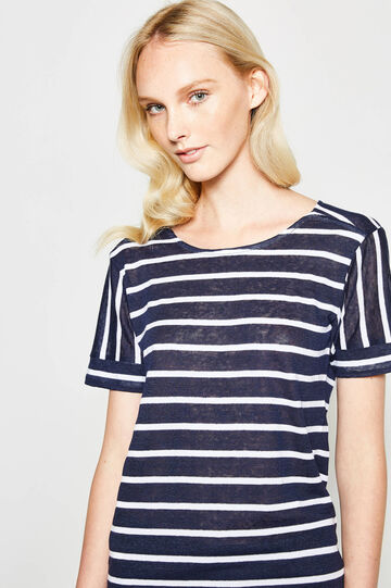 Cotton and linen T-shirt with striped pattern