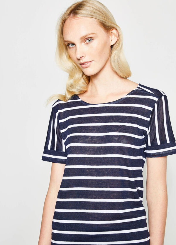Cotton and linen T-shirt with striped pattern | OVS