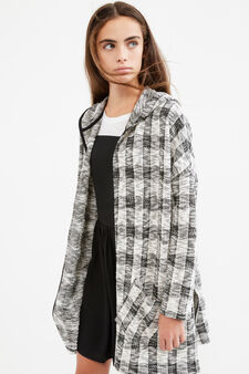 Teen knitted cardigan with hood, White/Grey, hi-res