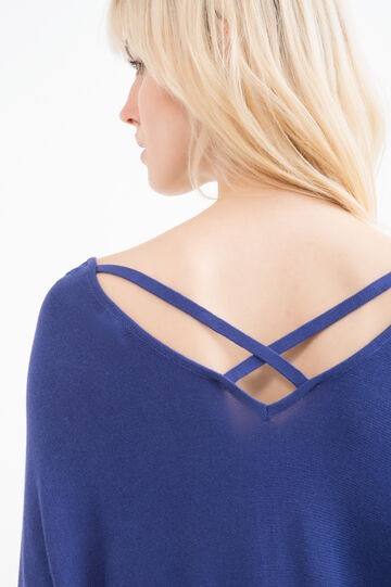 Solid colour pullover in viscose blend, Blue, hi-res