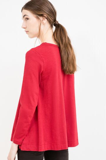 T-shirt maniche lunghe fondo svasato, Rosso, hi-res