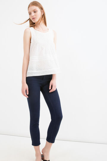 Pleated blouse in 100% cotton, White, hi-res