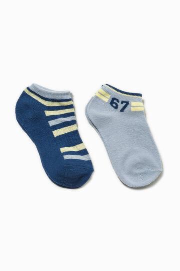 Set due paia di calze corte con ricami, Blu/Giallo, hi-res