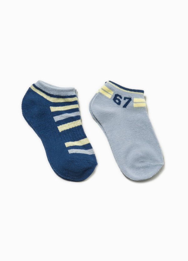 Two-pair pack short socks with embroidery | OVS