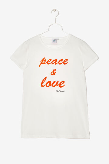 T-shirt Expo stampa Peace&Love. Designed by Elio Fiorucci, Bianco, hi-res