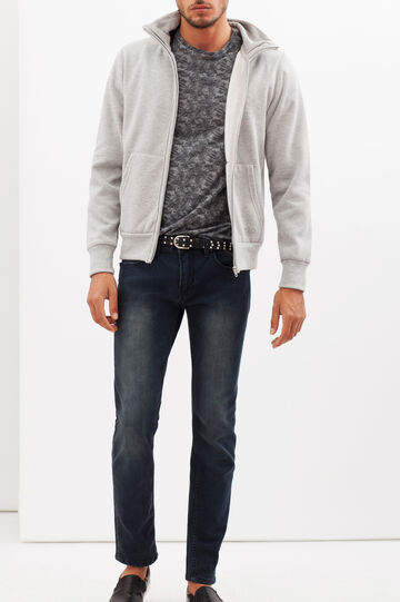 Plain sweatshirt with zip, Grey Marl, hi-res