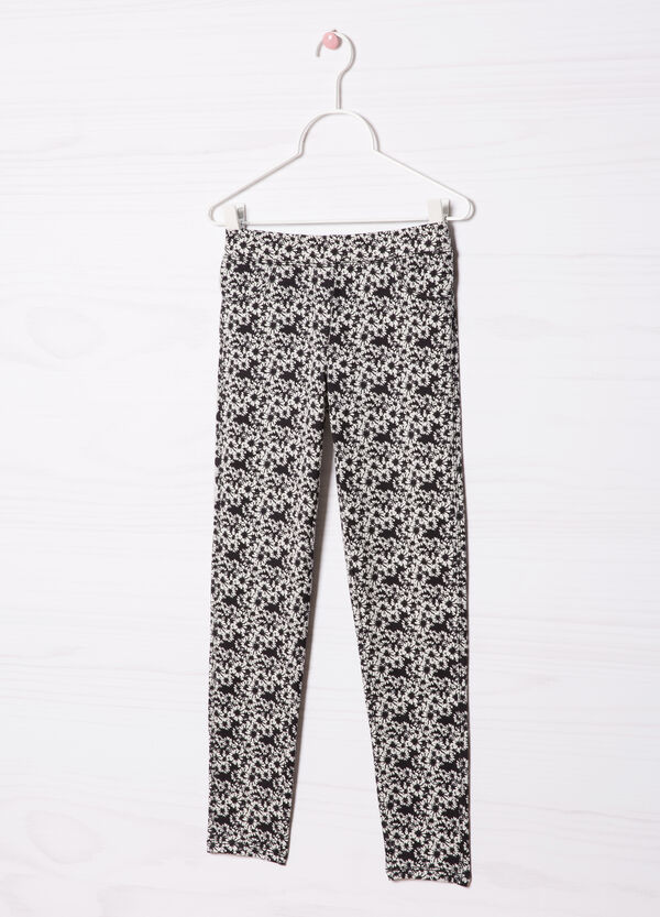 Cotton blend patterned jeggings | OVS