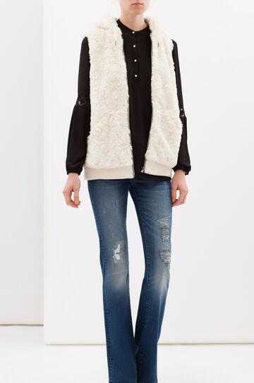 Plain faux fur waistcoat, Soft White, hi-res