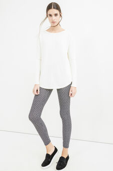 Stretch cotton leggings with all-over print, Black/White, hi-res