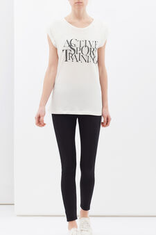 T-shirt puro cotone maniche raglan, Bianco, hi-res