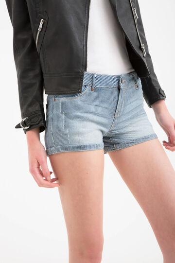 Striped stretch denim shorts