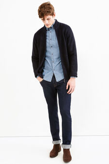 Knitted cardigan with ribbing, Navy Blue, hi-res