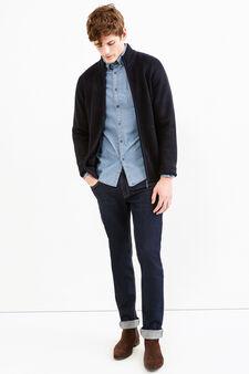Cardigan tricot con costina, Blu navy, hi-res