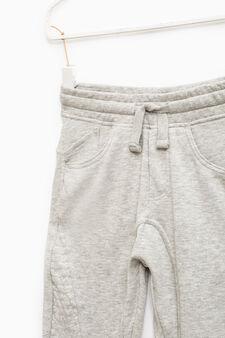 Pantaloni tuta cotone tinta unita, Grigio, hi-res