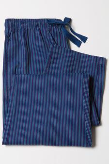 Striped pyjama trousers in 100% cotton, Denim Blue, hi-res