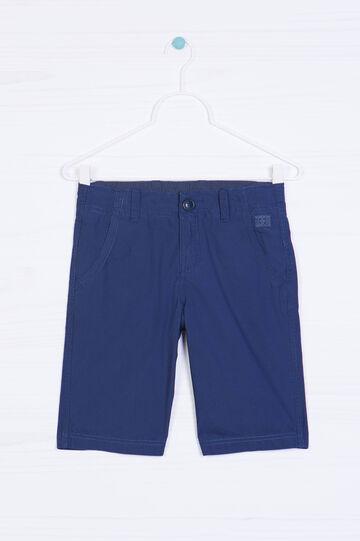 Plain cotton Bermuda shorts, Blue, hi-res