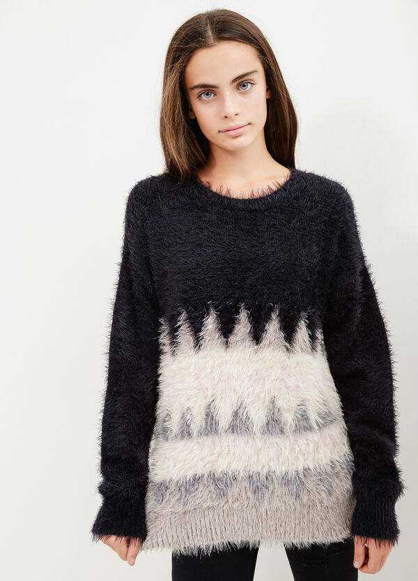 Teen faux fur stretch cotton pullover | OVS