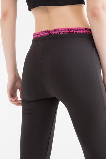 Pantaloni sportivi stretch stampa, Nero, hi-res