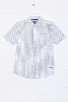 Camicia puro cotone stampa all-over, Bianco/Blu, hi-res