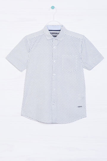 Camicia puro cotone stampa all-over, Bianco/Blu, hi-res
