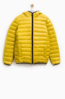 Solid colour real down jacket, Acid Green, hi-res