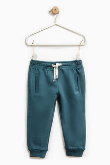 Cotton joggers with drawstring, Teal Green, hi-res