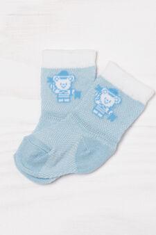 Set due paia di calze misto cotone, Bianco/Azzurro, hi-res