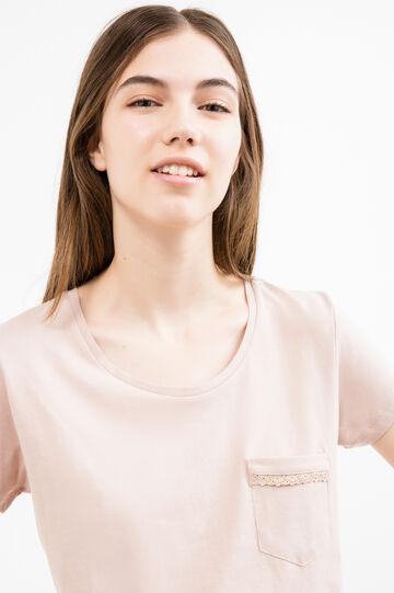 T-shirt puro cotone con taschino, Rosa polveroso, hi-res