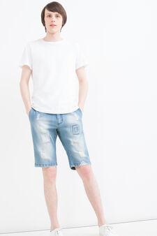 Bermuda di jeans slim fit patch, Denim, hi-res