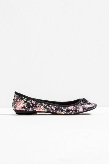 Floral print ballerina flats, Black, hi-res