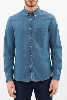 Denim shirt with pocket and yoke, Denim Blue, hi-res