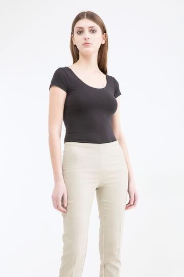 Stretch cotton capri pants, Beige, hi-res