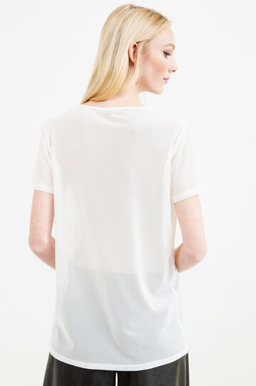 Semi-sheer T-shirt with patch, Milky White, hi-res