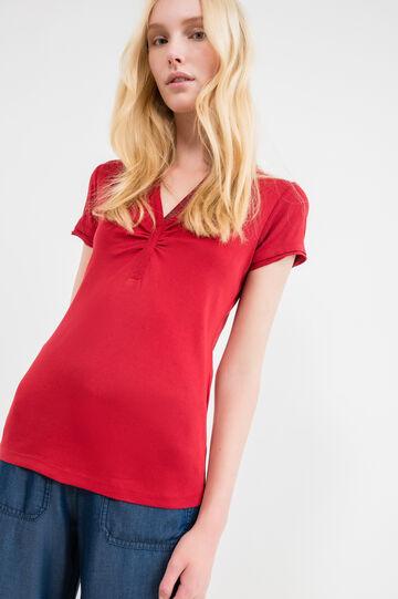 Diamanté V-neck polo shirt in 100% cotton, Red, hi-res