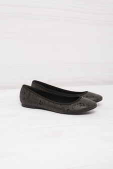 Leather look ballerina flats with print, Black, hi-res
