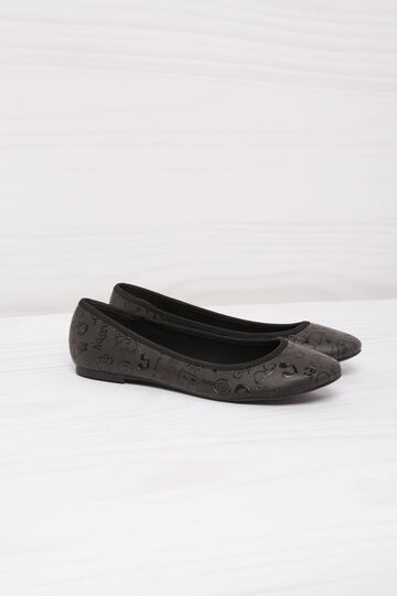 Leather look ballerina flats with print