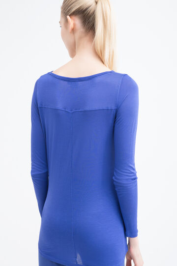 T-shirt sportiva viscosa stampata, Blu, hi-res