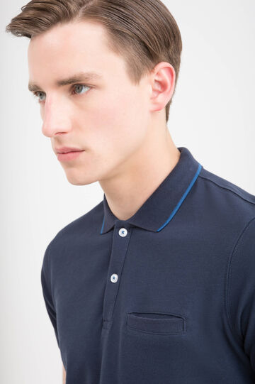 Polo shirt in 100% cotton with contrasting trim, Dark Blue, hi-res