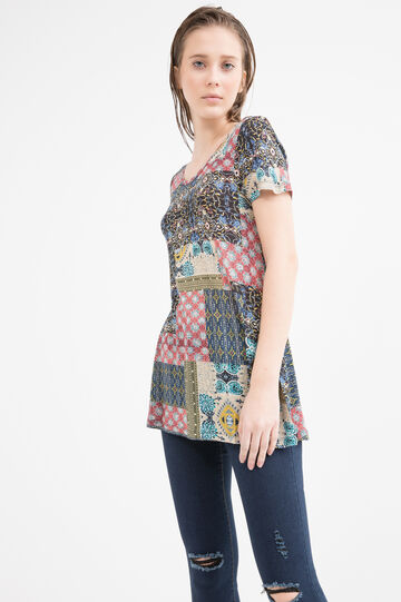 Patterned T-shirt in 100% viscose, Multicolour, hi-res