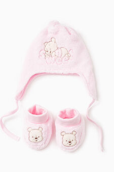 Embroidered cotton Winnie the Pooh set, Pink, hi-res