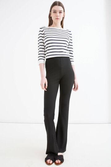 Solid colour stretch trousers, Black, hi-res