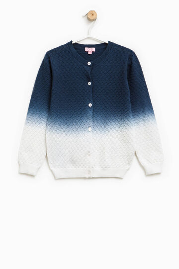 Knitted degradé cardigan, White/Blue, hi-res