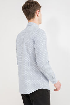 Camicia casual slim fit stampa all-over, Bianco, hi-res