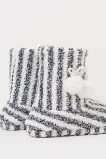 Striped slipper boots, White/Black, hi-res